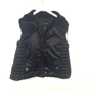 Lane Bryant Black Vest Zip Up Floral Etched Button